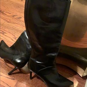 black leather high heels boots